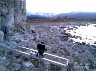 Time Lapse Dolly behind Tufa at sunset