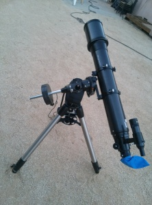 Orion SkyView Pro 120mm EQ 1000mm on Celestron Advanced GT German Equatorial Mount.