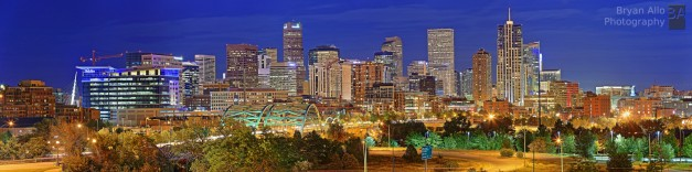 Denver CO Skyline at sunset